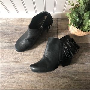 OTBT | Black Leather Fringed Booties